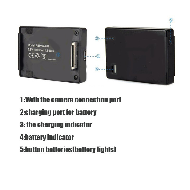 Battery Grip ABPAK-404 para GoPro Hero 2, GoPro Hero 3, GoPro Hero 3 +, GoPro Hero 4