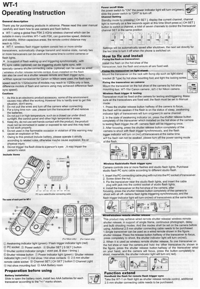 Rádio Flash WT1-01 para Canon
