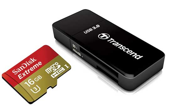 Cartão de memória MicroSDHC SanDisk 16GB Extreme Classe 10 UHS-I 60MB/s + Leitor Transcend F5