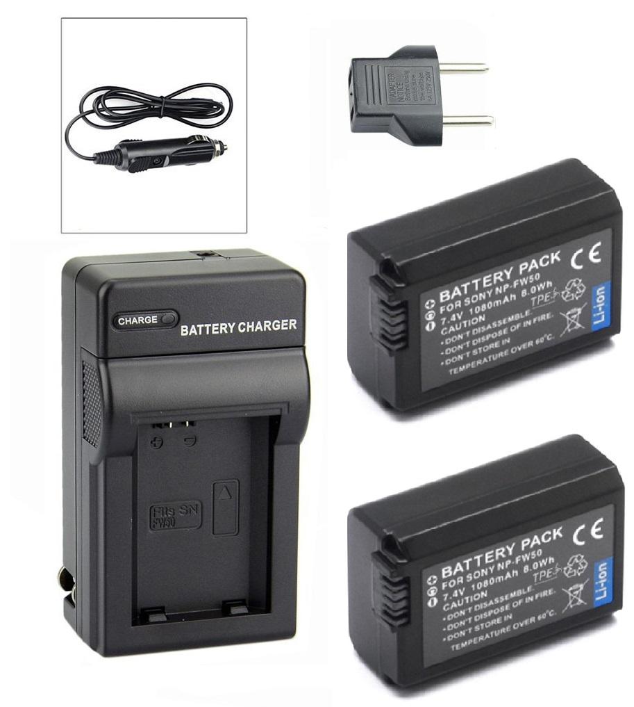 Kit 2 Baterias + Carregador NP-FW50 para câmera digital e filmadora Sony NEX-3, NEX-3A, NEX-3D, NEX-5, NEX-5K