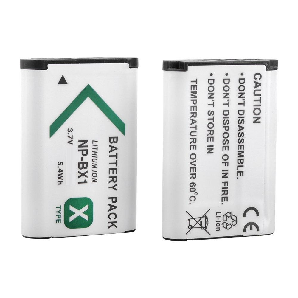 KIT 2 BATERIAS + CARREGADOR Sony NP-BX1 1240mAh para câmera digital e filmadora Sony DSC-RX1, DSC-RX100M2, DSC-HX300, HDR-MV1, HDR-AS15, DSC-H400