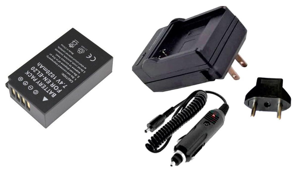 Kit Bateria EN-EL20 + carregador para Nikon 1 AW1, 1 J2, 1J3