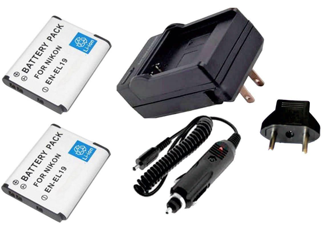 Kit 2 Baterias EN-EL19 + carregador para Nikon Coolpix S100, 3100, 4100, S-3300, S4300