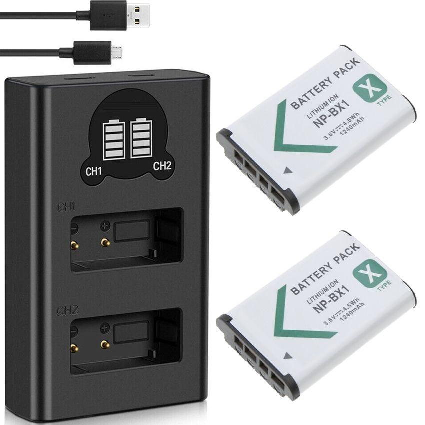 2 Baterias + Duplo Carregador DL NP-BX1 PARA SONY NP para Sony DSC-RX1, DSC-RX100, DSC-HX300