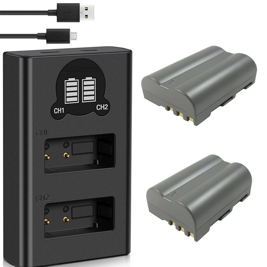 2 Baterias + Carregador Duplo EN-EL3  para Nikon