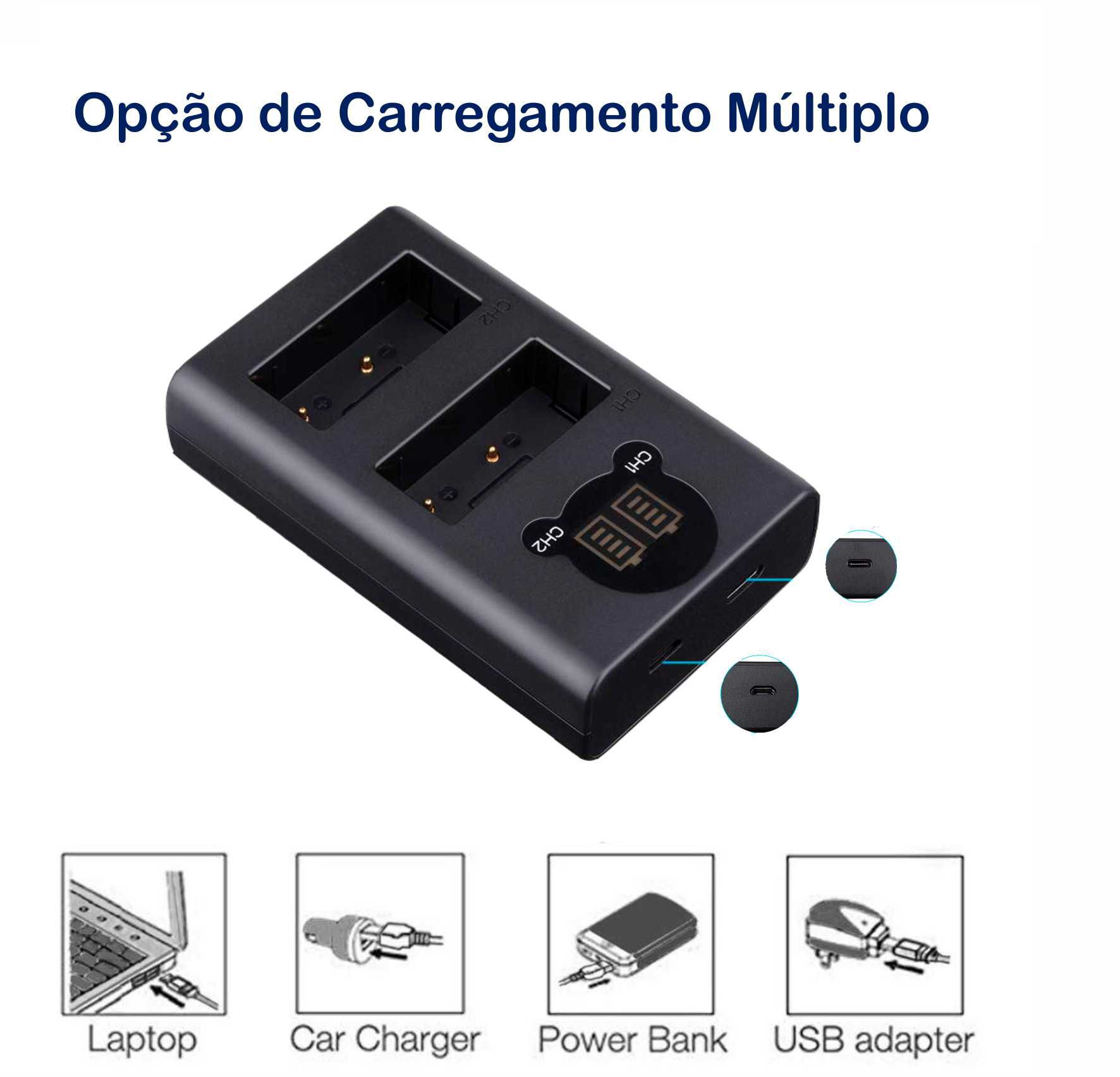 2 BATERIAS + CARREG DUPLO LP-E6 P/ CANON