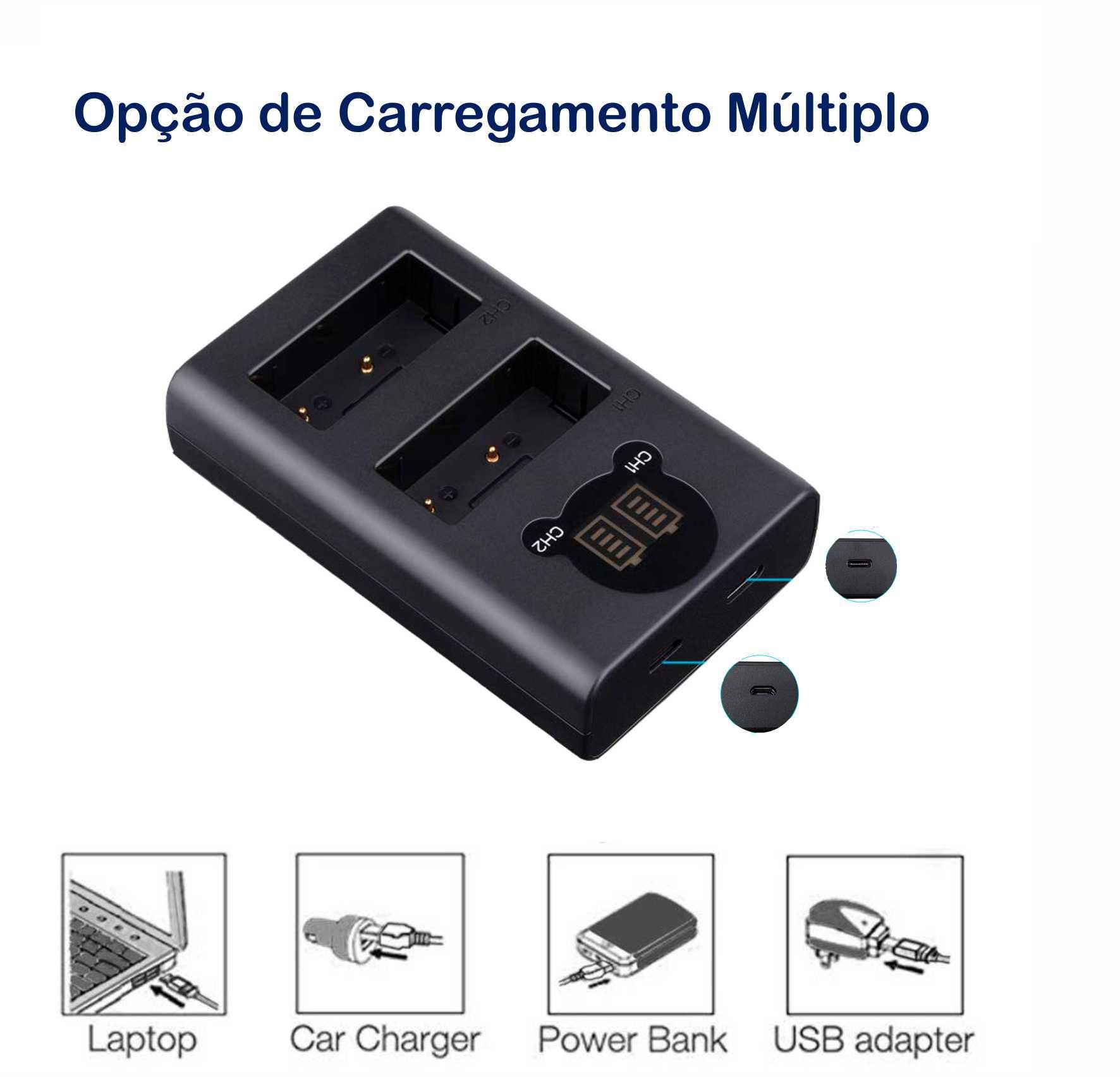 2 Baterias + Duplo Carregador LP-E5 para Canon