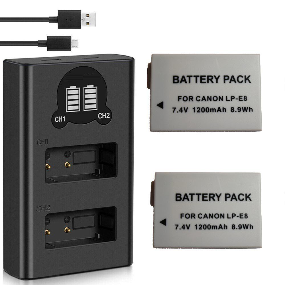 2 Baterias + Duplo Carregador LP-E8 para Canon