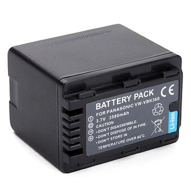 2 Baterias VW-VBK360 3580mAh para câmera digital e filmadora Panasonic HDC-HS80, HDC-TM40, SDR-H100, SDR-T70