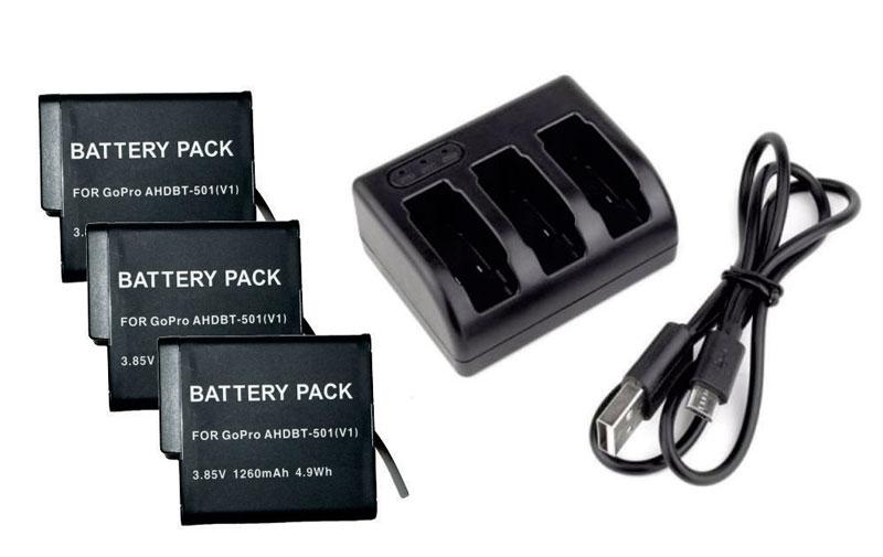 Kit 3 Baterias AHDBT-501 para Go Pro Gopro HD Hero 5 + Carregador triplo