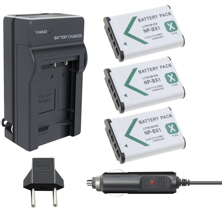 3 Baterias NP-BX1 + 1 carregador para Sony DSC-RX1, DSC-RX100M2, DSC-HX300, HDR-MV1, HDR-AS15