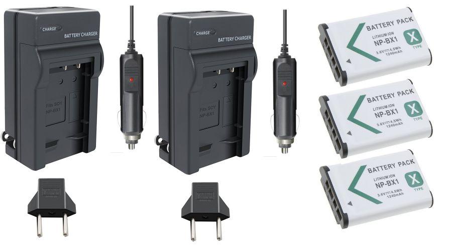 3 Baterias NP-BX1 + 2 carregadores para Sony DSC-RX1, DSC-RX100M2, DSC-HX300, HDR-MV1, HDR-AS15, DSC-H400
