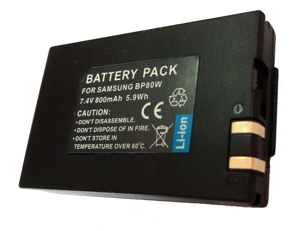 Bateria IA-BP80W  800mAh para câmera digital e filmadora Samsung SC-DX100, SC-D382, VP-DX102, VP-DX105