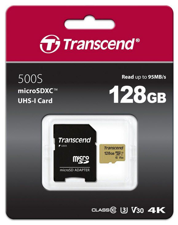 Cartão de memória MicroSDXC Transcend 128GB 95MB/s 4k