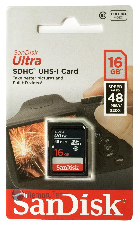 Cartão de Memória SDHC 16GB Sandisk Ultra Classe 10 48MB/s