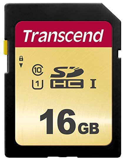 Cartão de Memória SDHC 16GB TRANSCEND CL10 UHS-I U1 500S 95MB/S