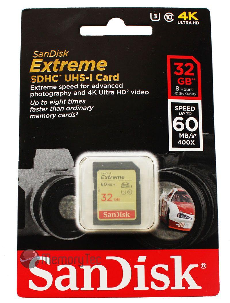 Cartão de Memória SDHC 32GB Sandisk Extreme Classe 10 60MB/s