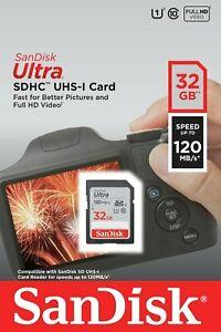 Cartão de Memória SDHC 32GB Sandisk Ultra 120MB/s