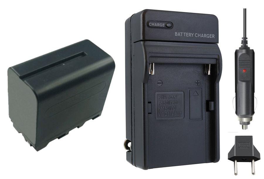 Kit 1 Bateria NP-F950/960/970 + carregador para câmera digital e filmadora Sony BC-V615, CCD-SC5, CCD-SC55, CCD-SC65, CCD-TR1, CCD-TR200, CCD-TR215, CCD-TR3, CCD-TR300, CCD-TR3