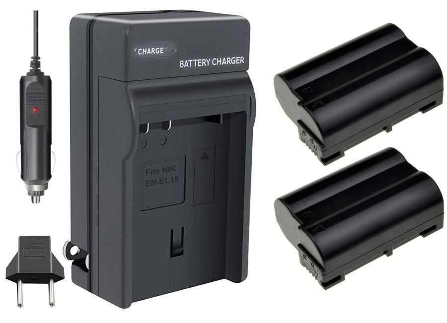 Kit 2 Baterias EN-EL15 + carregador para Nikon D7000, D800, D800e, D600, D7100 e 1 V1