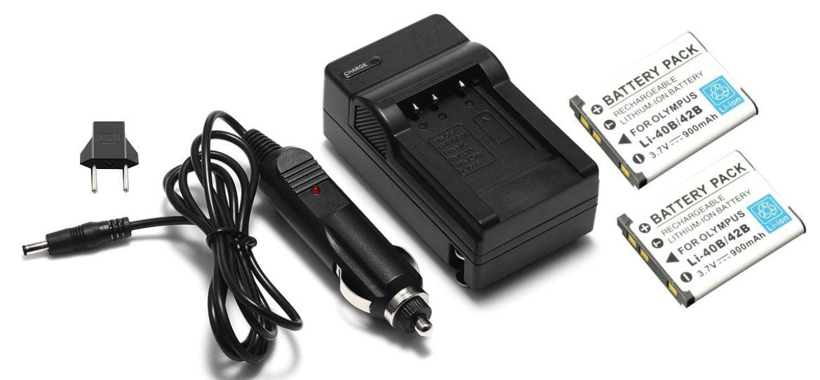 Kit 2 Baterias LI-40B LI-42B + carregador para câmera digital Olympus FE-20, FE-340, X-835, u 1000