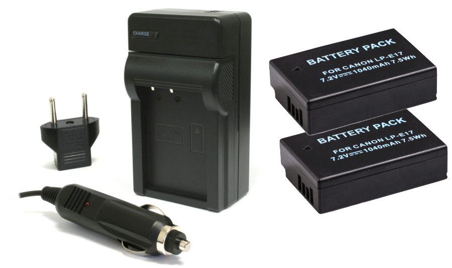 Kit 2 Baterias LP-E17 + Carregador para câmera digital Canon EOS Rebel T6i T6s