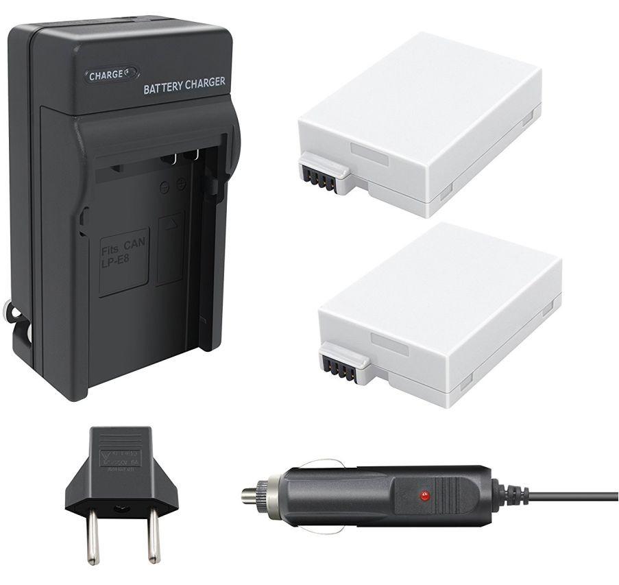Kit 2x Baterias Canon LP-E8 + Carregador para câmera digital e filmadora Canon EOS Digital Rebel T2i, T3i, EOS digital SLR 550D, EOS KISS Digital x5
