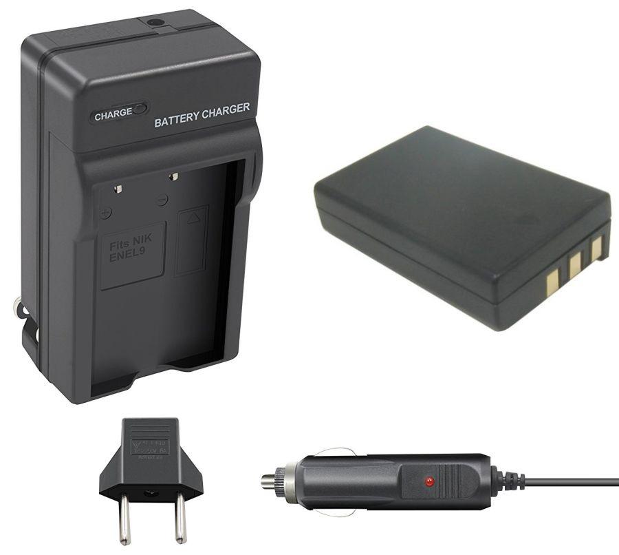 Kit Bateria EN-EL9 + carregador para câmera digital e filmadora Nikon D40, D40 SLR, D40X, D60,  D3000, D5000