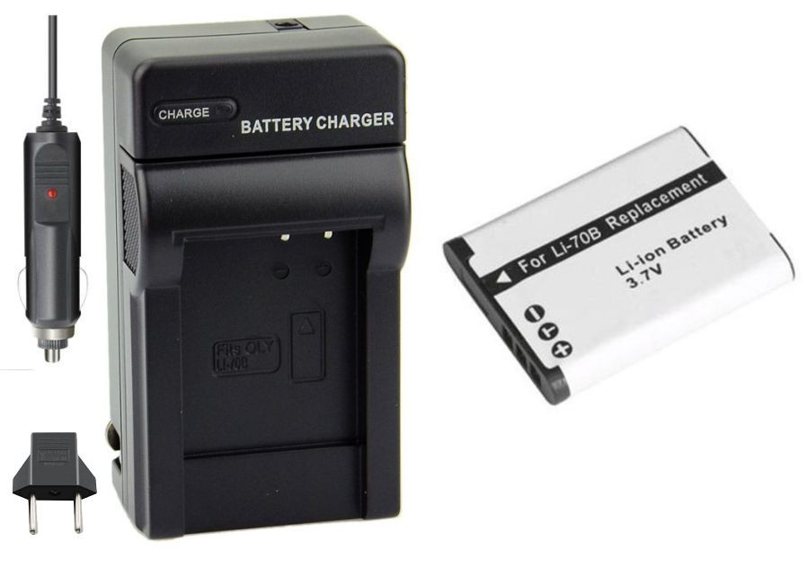 Kit Bateria Li-70B + carregador para Olympus D-700 FE-4020 X-940 VG-110