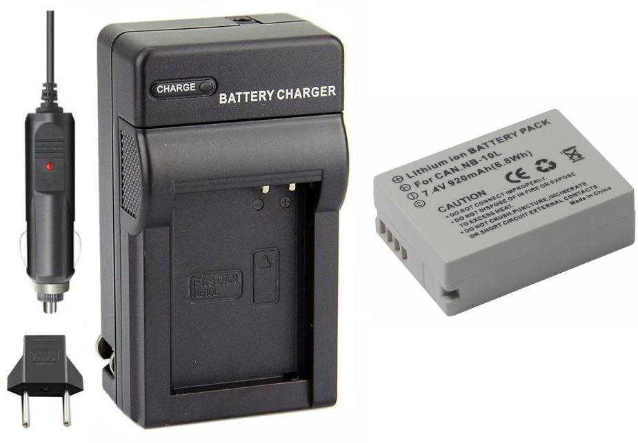 Kit Bateria NB-10L + carregador para Canon G1X  SX40 HS  SX50 HS  SX60 HS  G15  G16