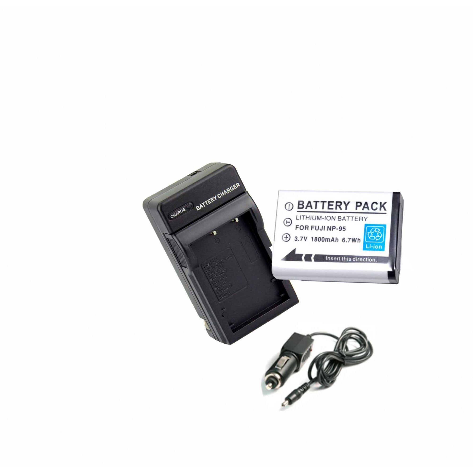 KIT Bateria NP-95 + Carregador para FUJI NP-40 NP-60 NP-95 NP-120para FUJI