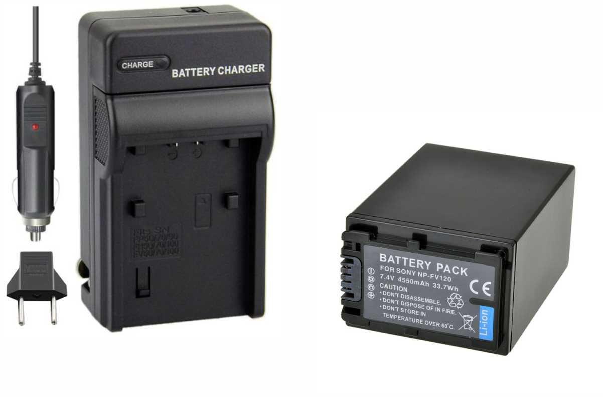 KIT 1 Bateria NP-FV120  + Carregador P/ SONY NP-FV100