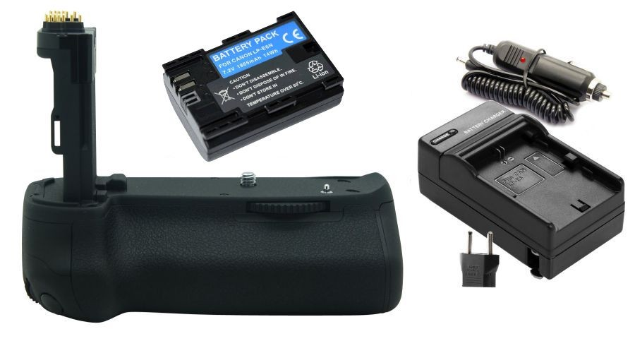 Kit Battery Grip BG-E13 + 1 Bateria LP-E6 + 1 Carregador para Canon EOS 6D