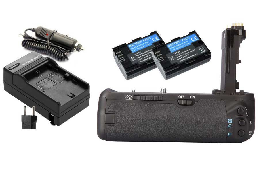 Kit Battery Grip BG-E14 para Canon EOS 70D + 2 Baterias LP-E6 + 1 Carregador