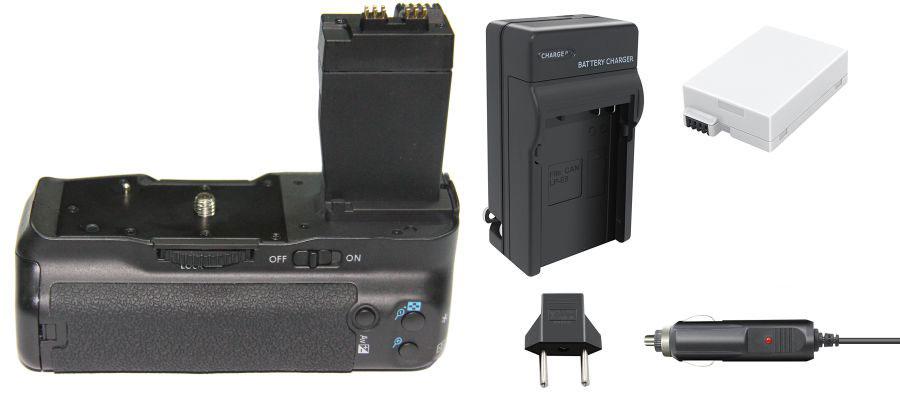 Kit Battery Grip BG-E8 + 1 bateria LP-E8 + carregador para Canon EOS T2i, T3i, T4i e T5i