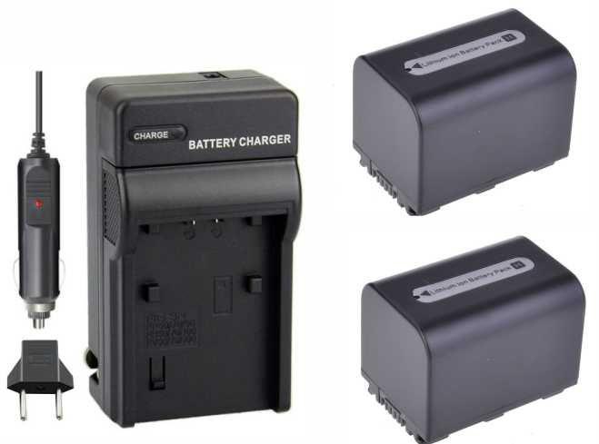 KIT Carregador + 2 Baterias NP-FH70 para Sony DCR-DVD106, DCR-DVD208, DCR-DVD306, DCR-HC37, DCR-HC38