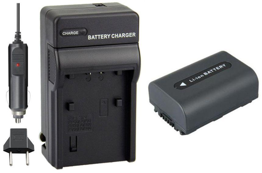 KIT Carregador + Bateria NP-FH50 1050mAh para Sony DCR-DVD106, DCR-DVD208, DCR-DVD306, DCR-HC37, DCR-HC38