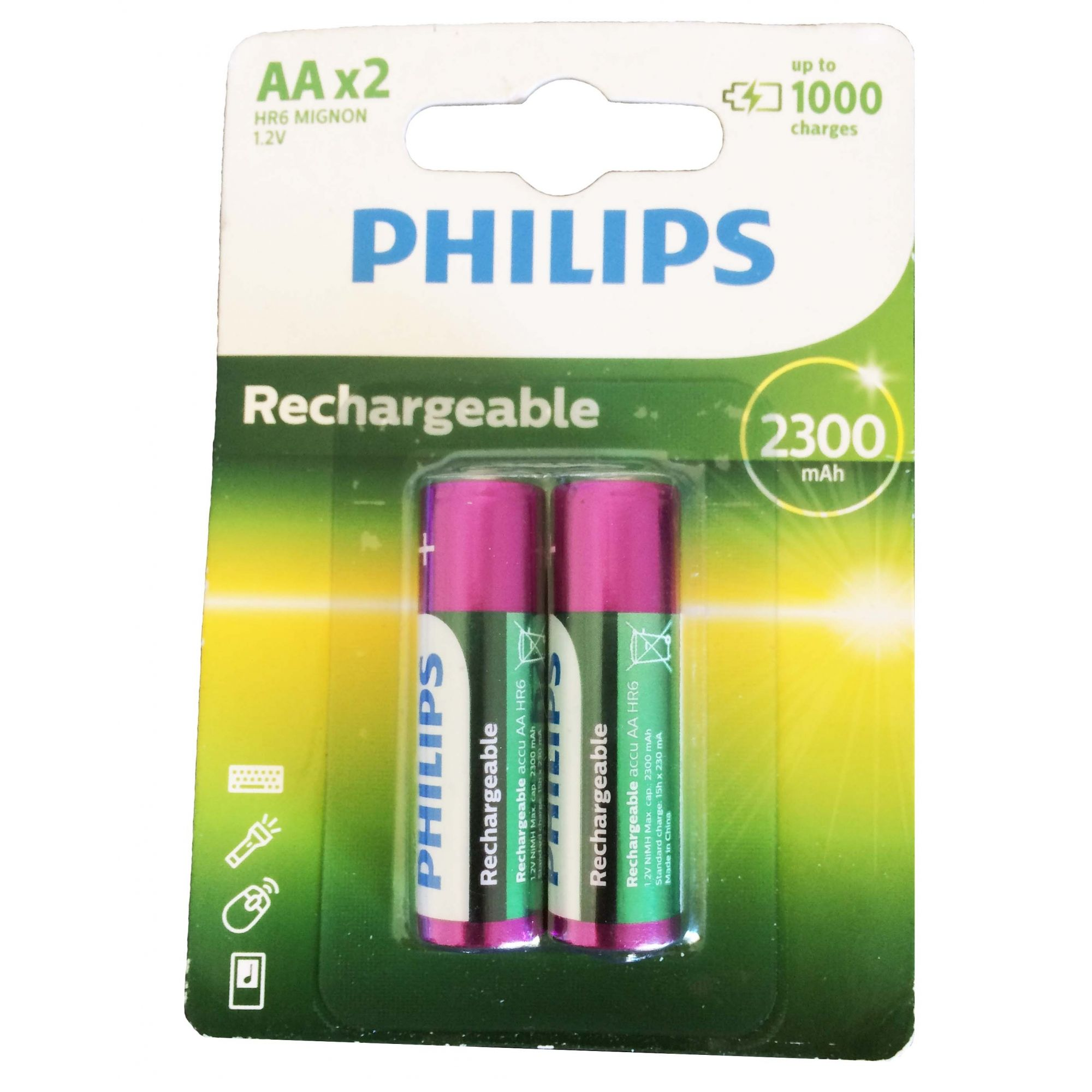 Pilha recarregável Philips AA 2300 mAh 2 unidades