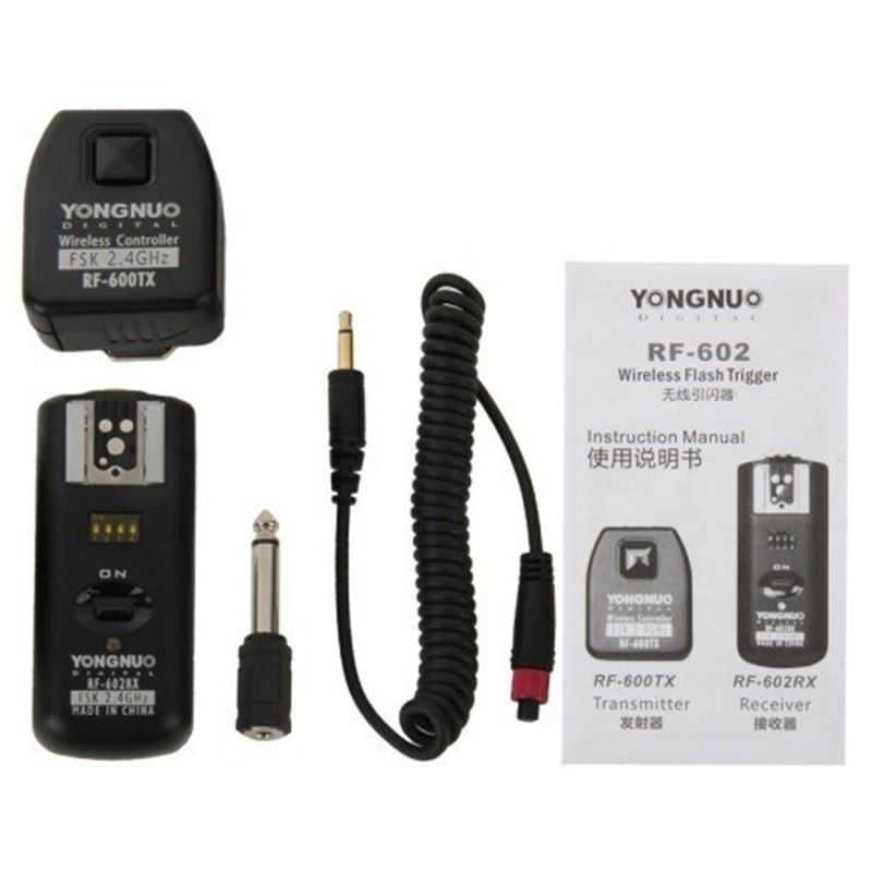 Rádio Flash Yongnuo  RF602 -KIT remoto de disparo Flash RF-602 sem fio KIT ( RF-600TXT transimitter + RF-602RX receptor ) para Nikon D90 D7000 D600 D3100