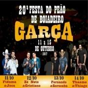 XX Festa do Peão de Garça - 11 a 14/10/17 - Garça - SP - TKINGRESSOS