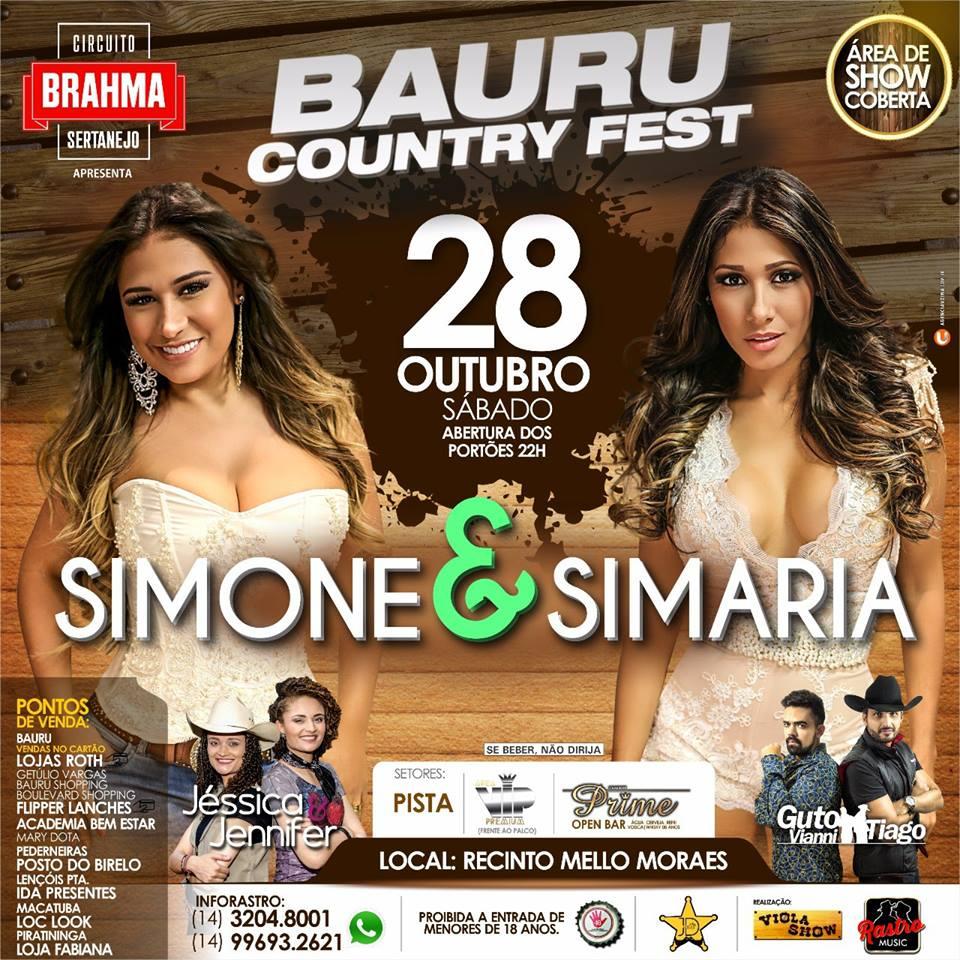 Bauru Country Fest Simone & Simaria - 28/10/17 - Bauru - SP