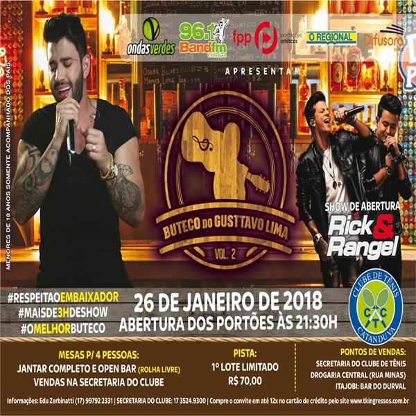 Boteco do Gusttavo Lima 2 - 26/01/18 - Catanduva - SP