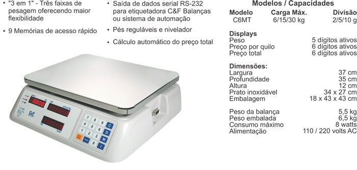 BALANÇA DIGITAL - TRÍPLICE ESCALA  - 6/15/30kg - C6 MT