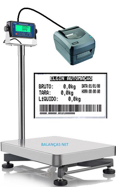 BALANÇA ELET. INOX 300kg - 42x52cm - Com Coluna - Com Impressora de Etiquetas