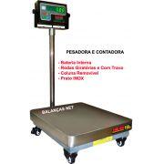 BALANÇA DIGITAL PESADORA E CONTADORA - 300kg x 50g - Bateria e Rodas