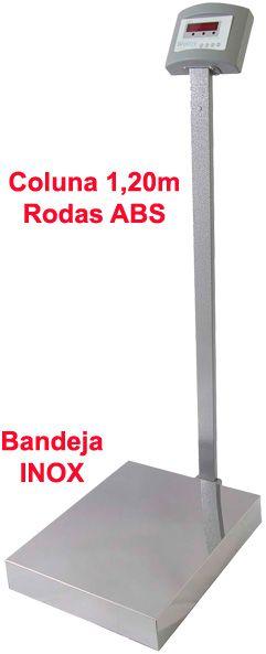 BALANÇA ELETRÔNICA INOX - 300kg x 50g - 50x60cm - Coluna e Rodas - Welmy