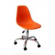 Cadeira Charles Eames DSW Giratória Base Cromada Conha em Polipropileno Laranja