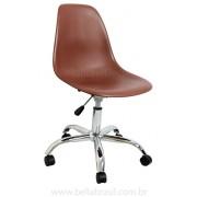 Cadeira Charles Eames DSW Giratória Cromada Conha em Polipropileno Marrom