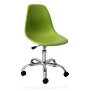 Cadeira Charles Eames DSW Giratória Base Cromada e Concha em Polipropileno Preta