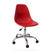 Cadeira Charles Eamens DSW Giratório Base Cromado Conha Polipropileno Vermelha